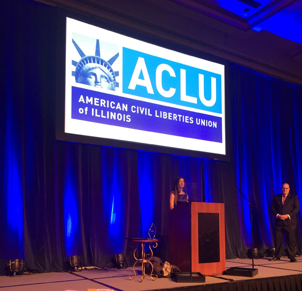 "Ari Afsar speaking at the ACLU of Illinois' ""Fighting for a Perfect Union"" luncheon on March 17."