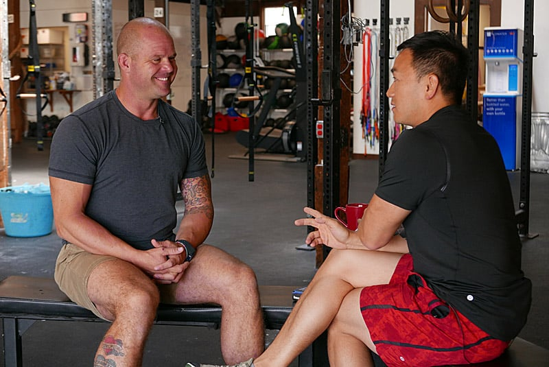 Kelly Starrett and Toan Lam recording an interview